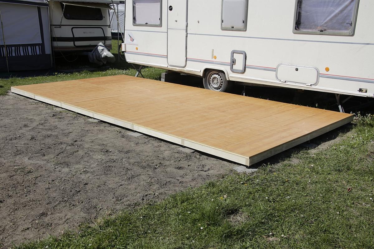 Vorzeltboden 2-teilig mit Holz-Profil